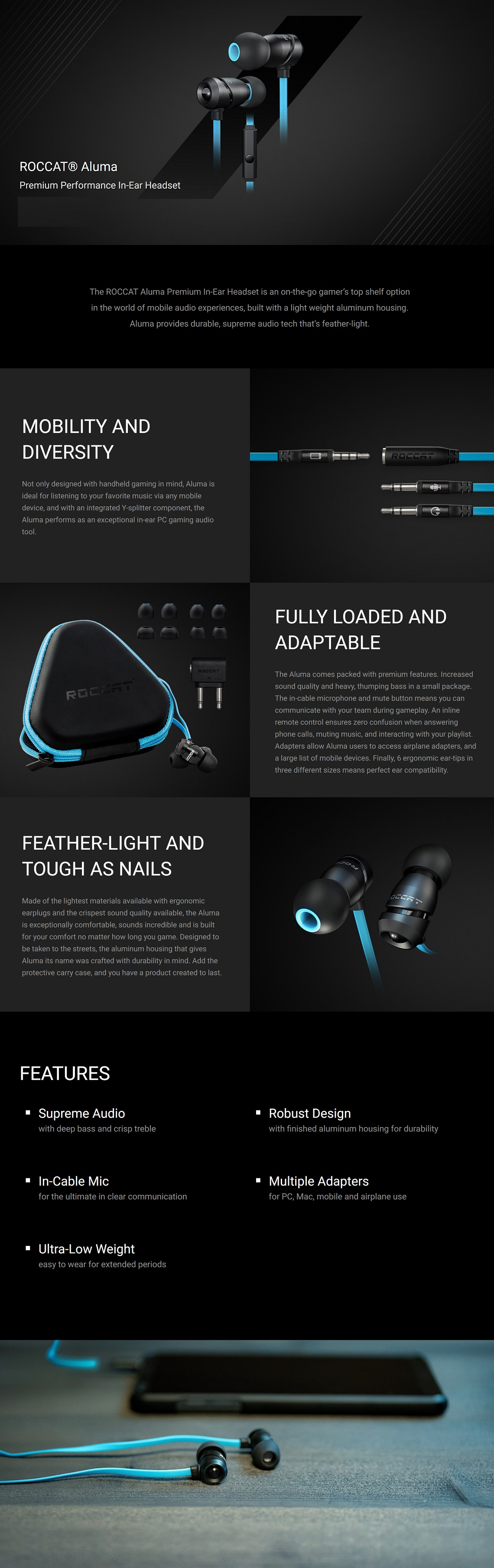 Roccat Aluma Premium Performance In-Ear Headset Earphone Robust Design In-Cable Mic
