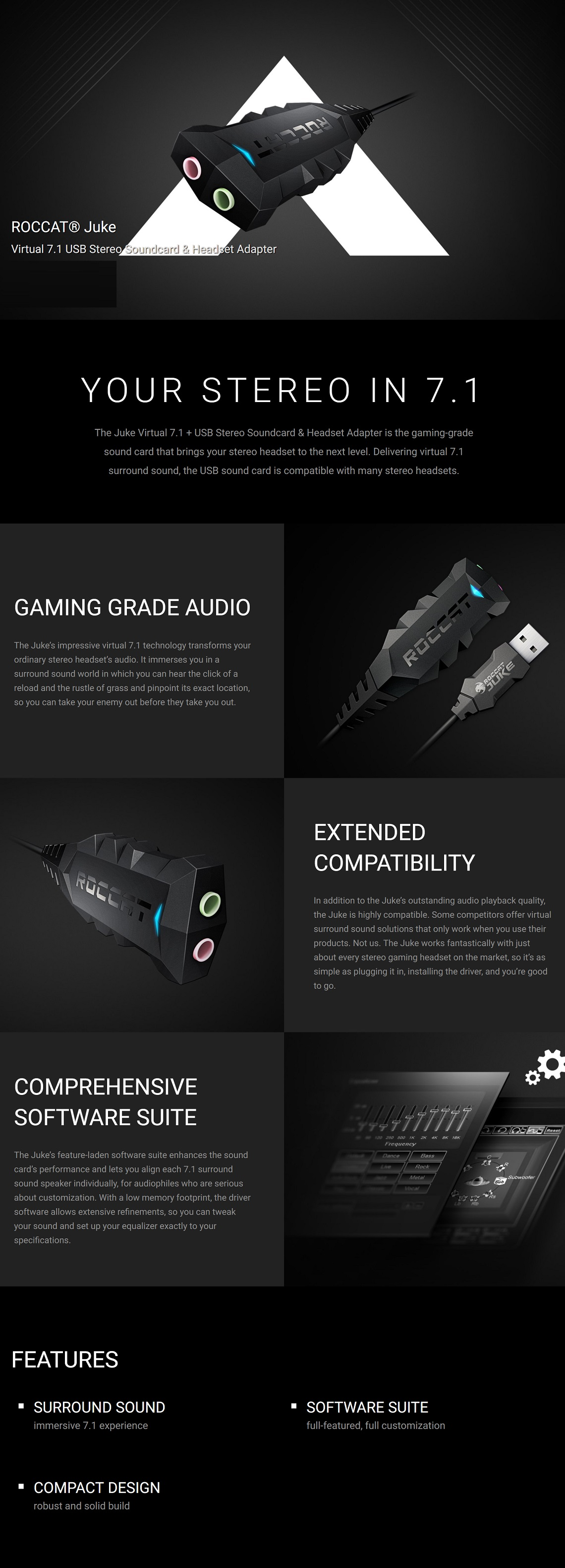 Roccat Juke Virtual 7.1 USB Stereo Soundcard & Headset Adapter Robust Solid Build