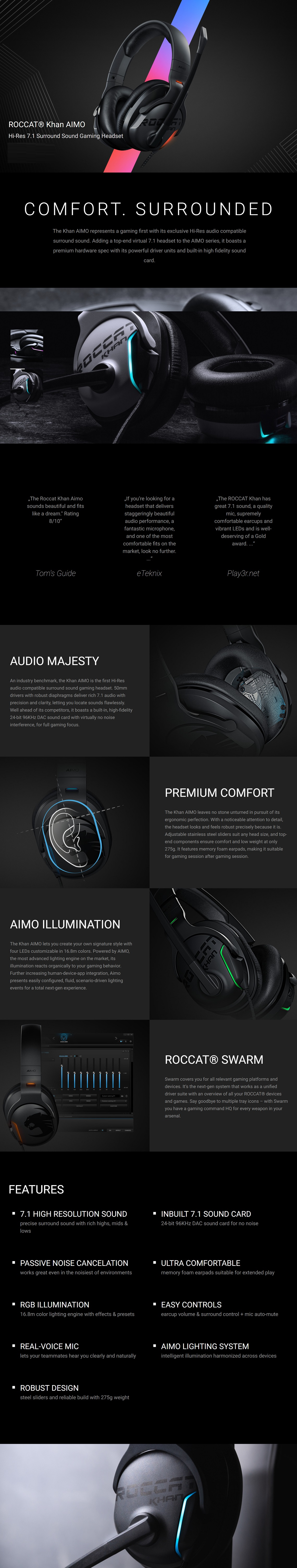 Roccat Khan AIMO 7.1 High Resolution RGB Gaming Headset White Noise Cancelation