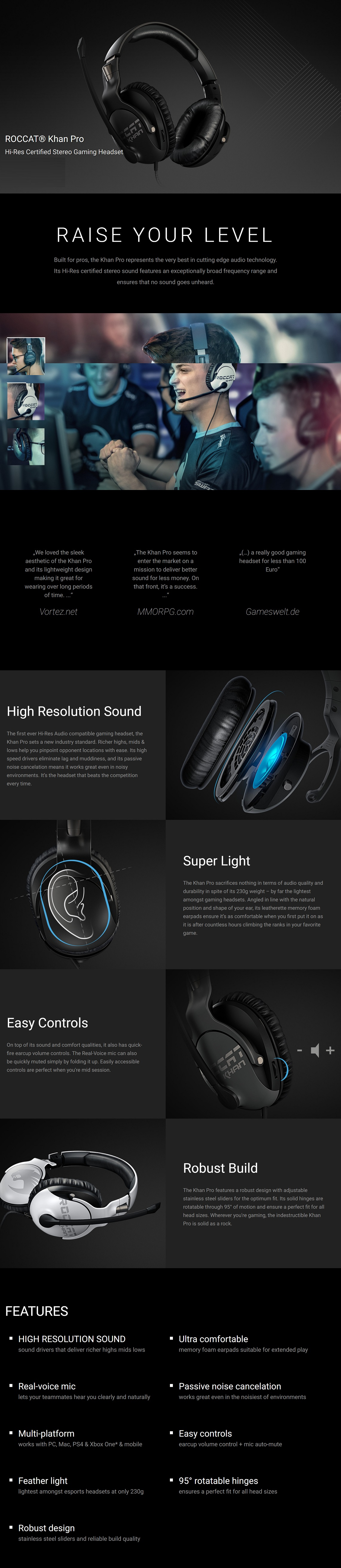 Roccat Khan PRO Competitive High Resolution Gaming Headset Grey Hi-Res Certified
