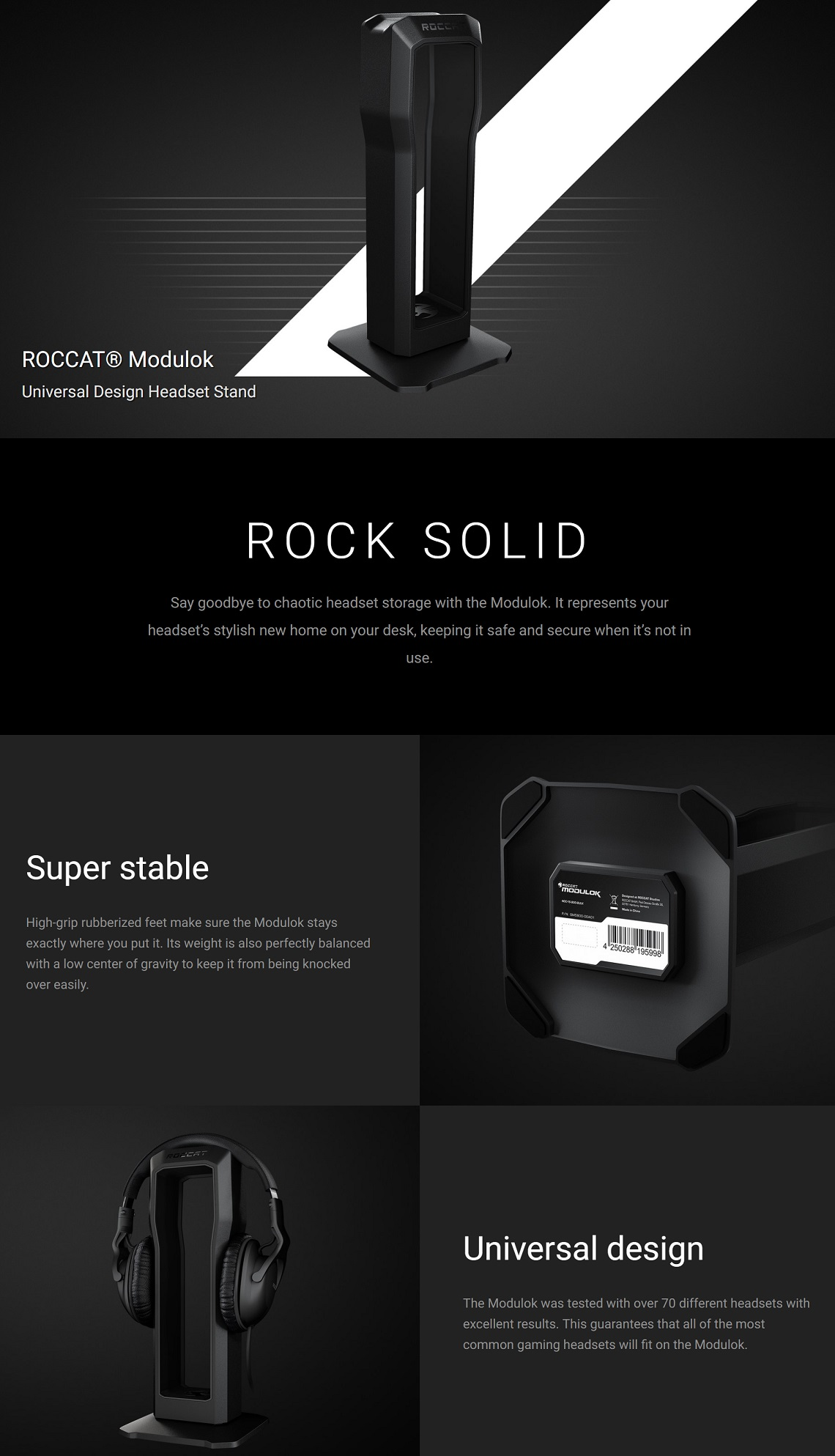 Roccat Modulok Modular Headset Stand Super Stable Universal Design Headset Stand