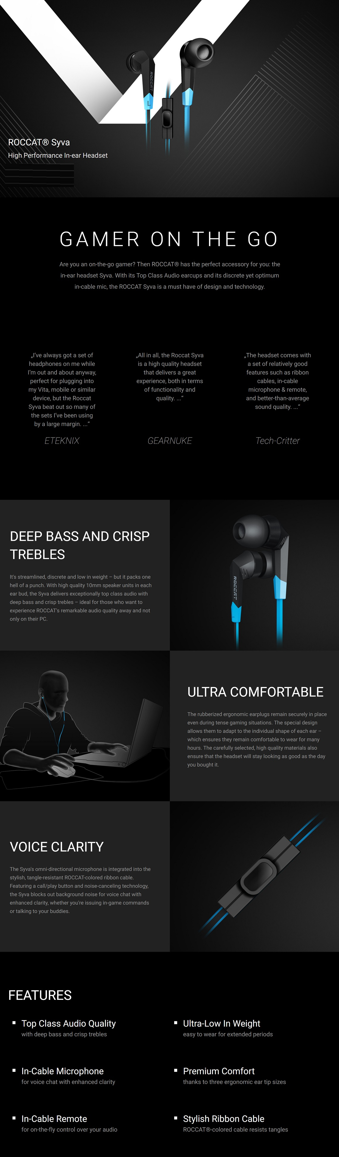 Roccat Syva High Performance In-Ear Headset Top Class Audio Quality Premium Comfort