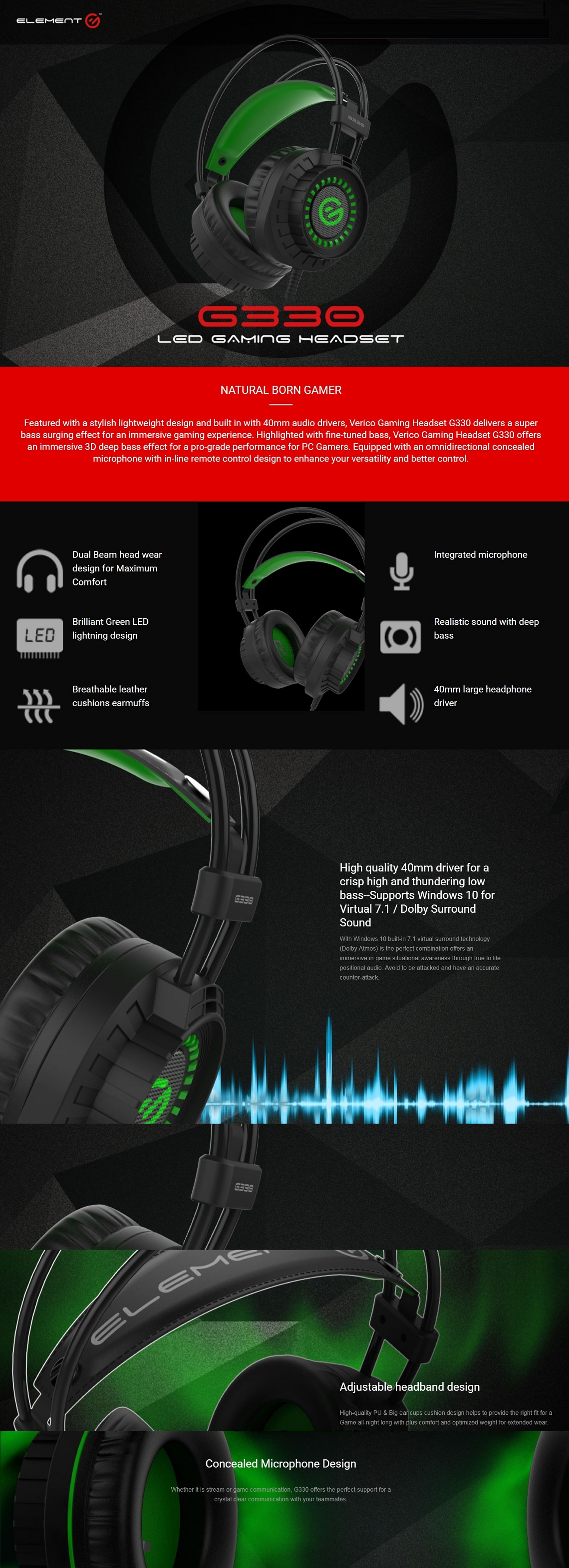Verico Element G G330 USB & 3.5mm Green LED Gaming with 40mm Audio Drivers