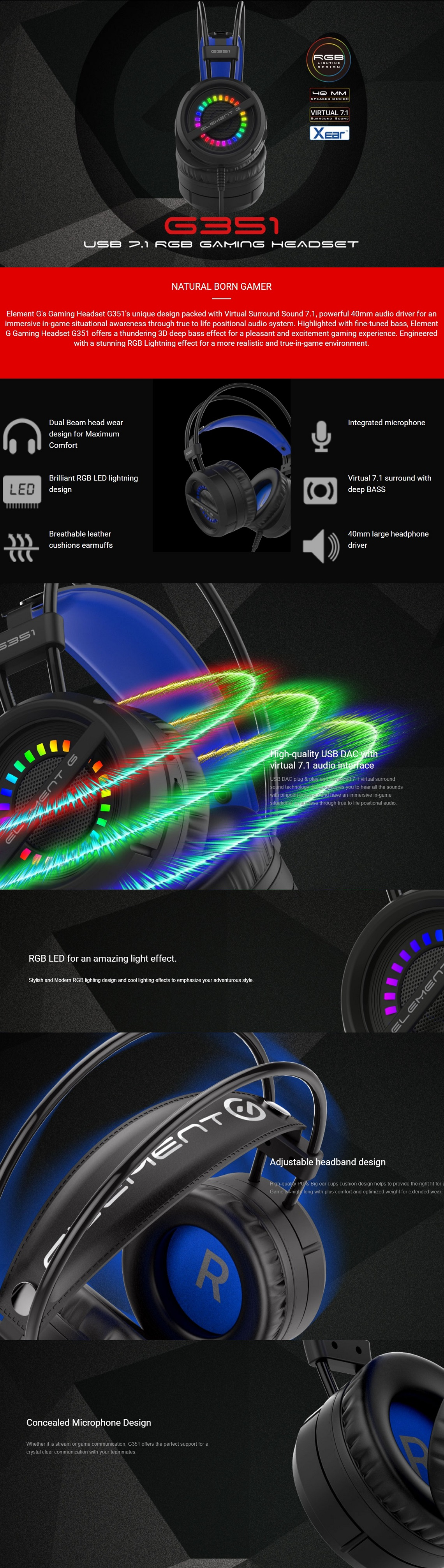 Verico Element G G351 RGB 7.1 USB Gaming Headset with Microphone &Volume Control