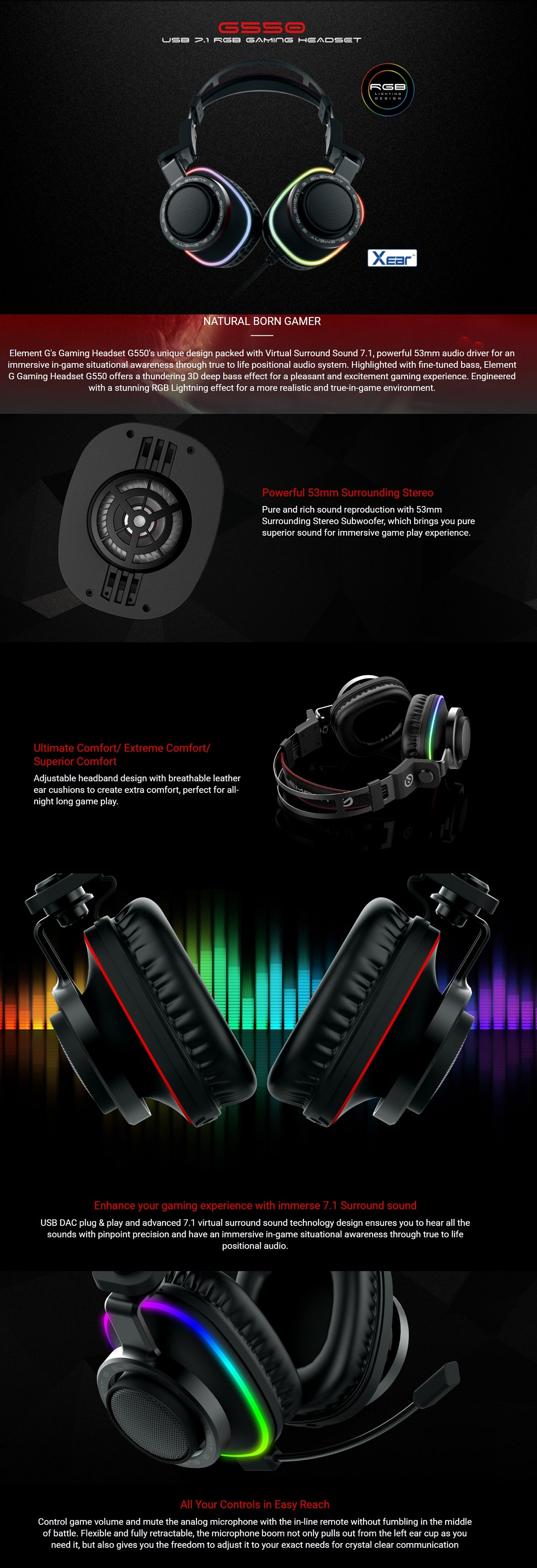 Verico Element G G550 RGB 7.1 USB Gaming Headset with Microphone &Volume Control