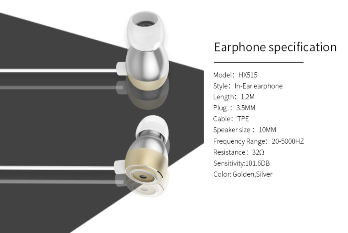 Xipin In-ear Earphone with Rubber Earpieces 1.2m Wired 3.5mm Headset Sliver HX515