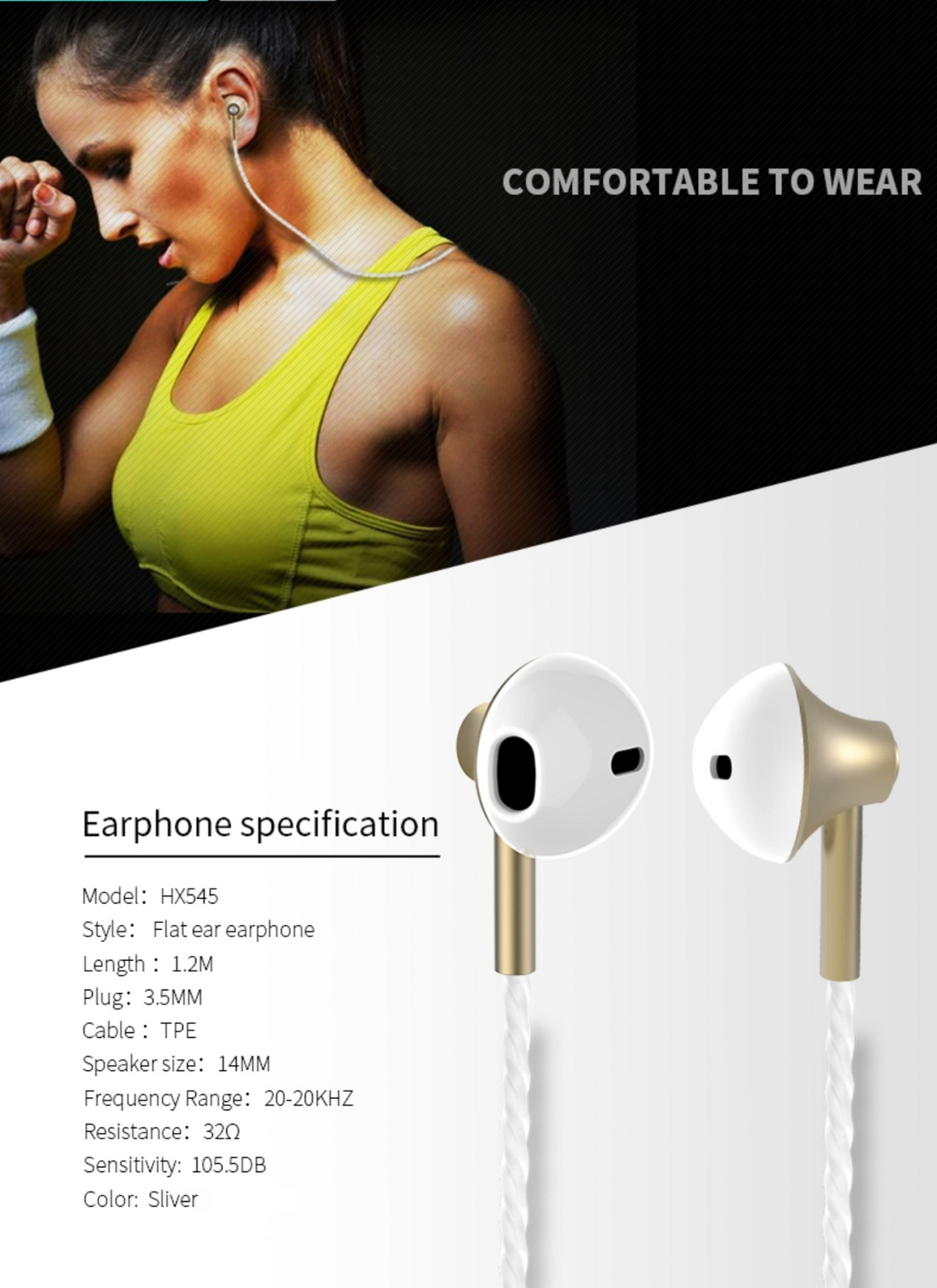 Xipin Flat In-Ear Earphone with HD Microphone & Slide Volume Control 3.5mm Sliver HX545