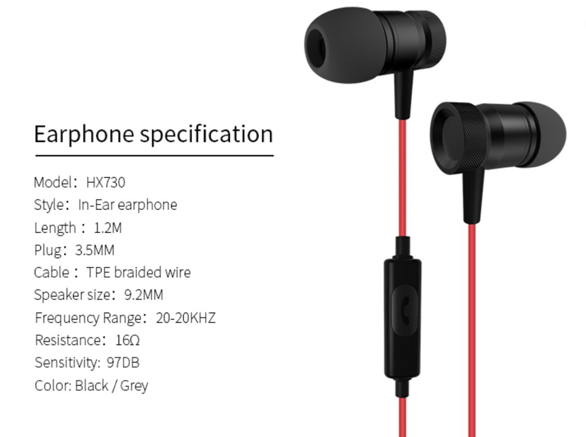Xipin Hi-Fi In-ear Earphone With Built-in MIC Black/Red 1.2m Cable 3.5mm HX730