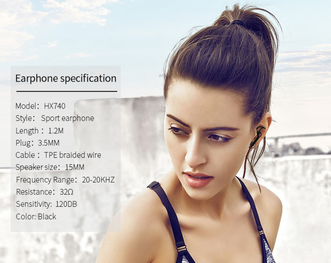 Xipin Sport Earphone Water and Sweat Proof With Speaker And Control Key HX740