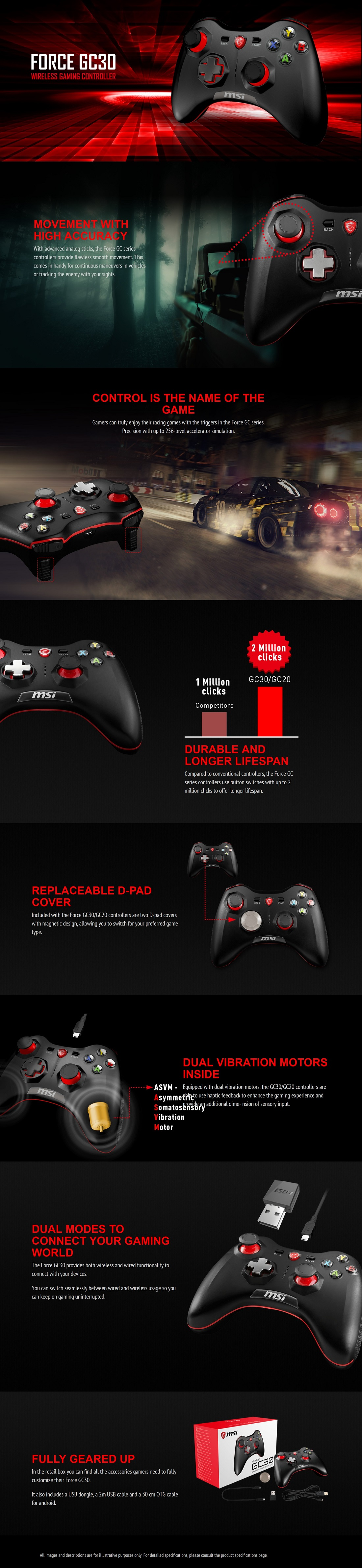 MSI GC30 Wireless Gaming Controller Support PC, Android and Popular Consoles