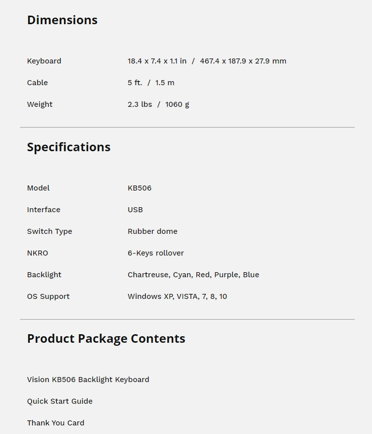 39711468055 AZIO KB506 Vision Large Print 5 Color Backlit Keyboard & Quick-Access  Hotkeys
