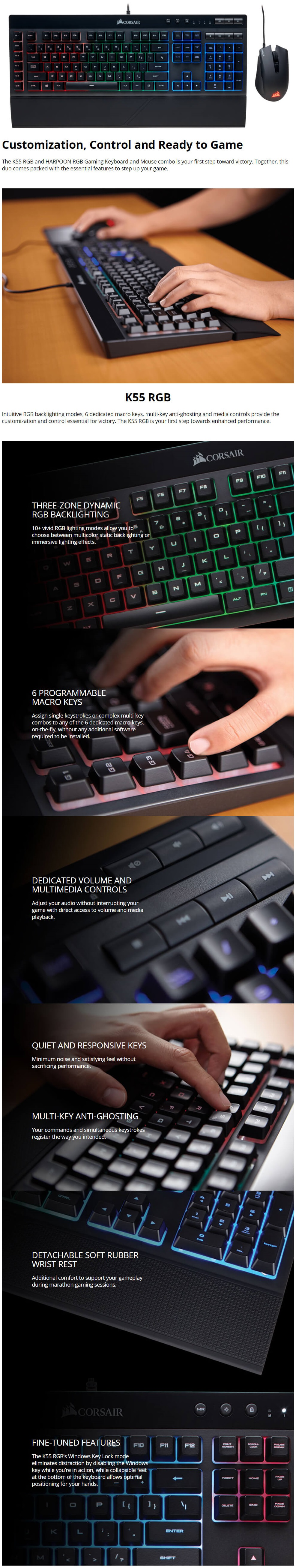 Details about Corsair K55 & HARPOON RGB Gaming Keyboard and Mouse Combo  CH-9206115-NA