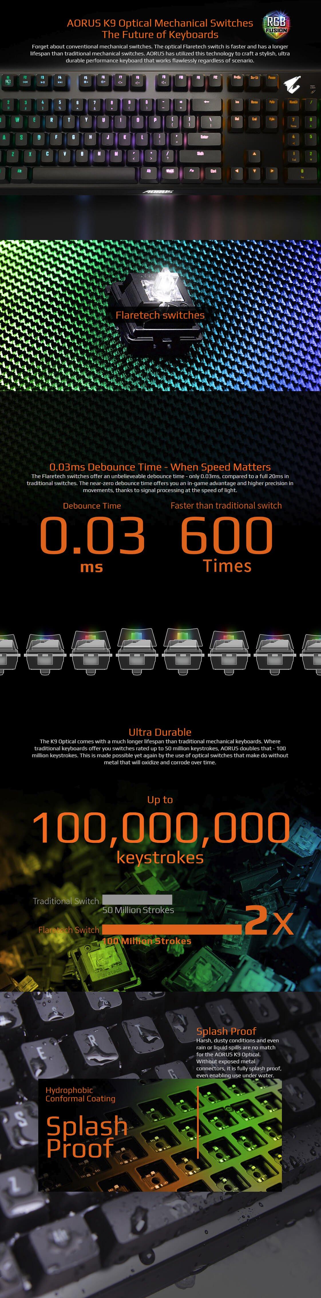 Gigabyte AORUS K9 Optical RGB Gaming Keyboard Flaretech Red AORUS-K9-RED