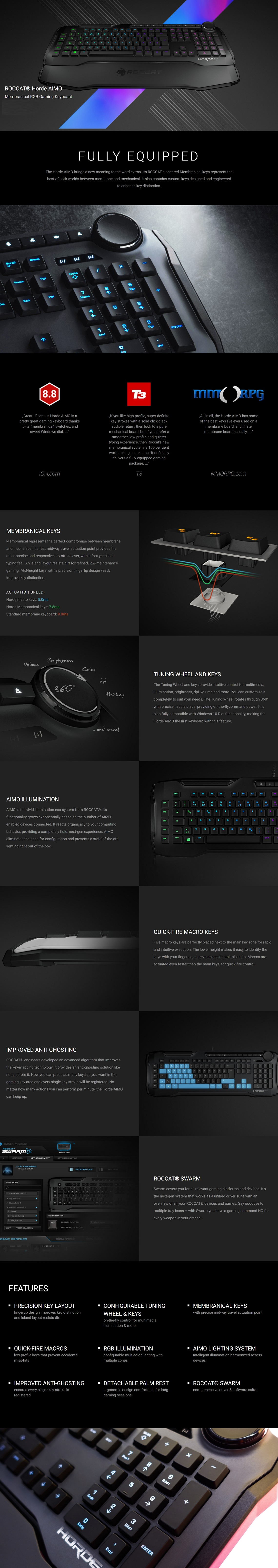 Roccat HORDE AIMO Membranical RGB Gaming Keyboard with Tuning Wheel and Keys