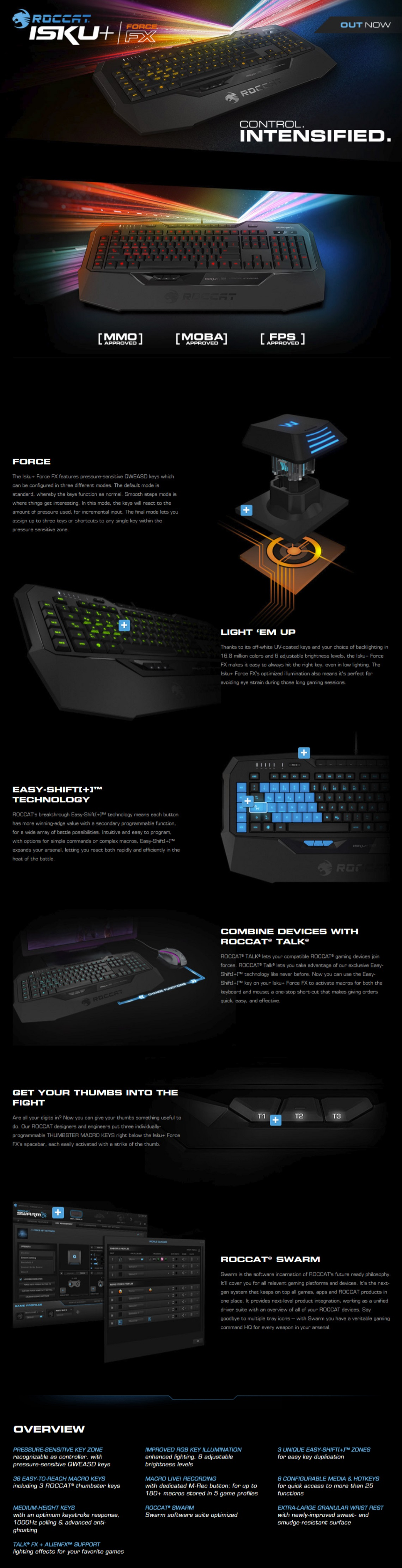 Roccat Isku Force FX RGB Gaming Keyboard with Pressure-Sensitive Key Zone