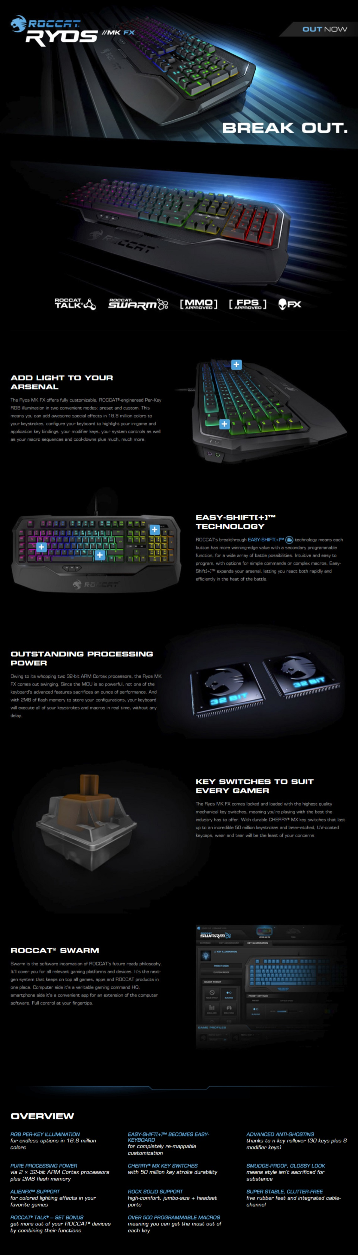 Roccat RYOS MK FX RGB Mechanical Gaming Keyboard Brown Cherry Switch Programmable
