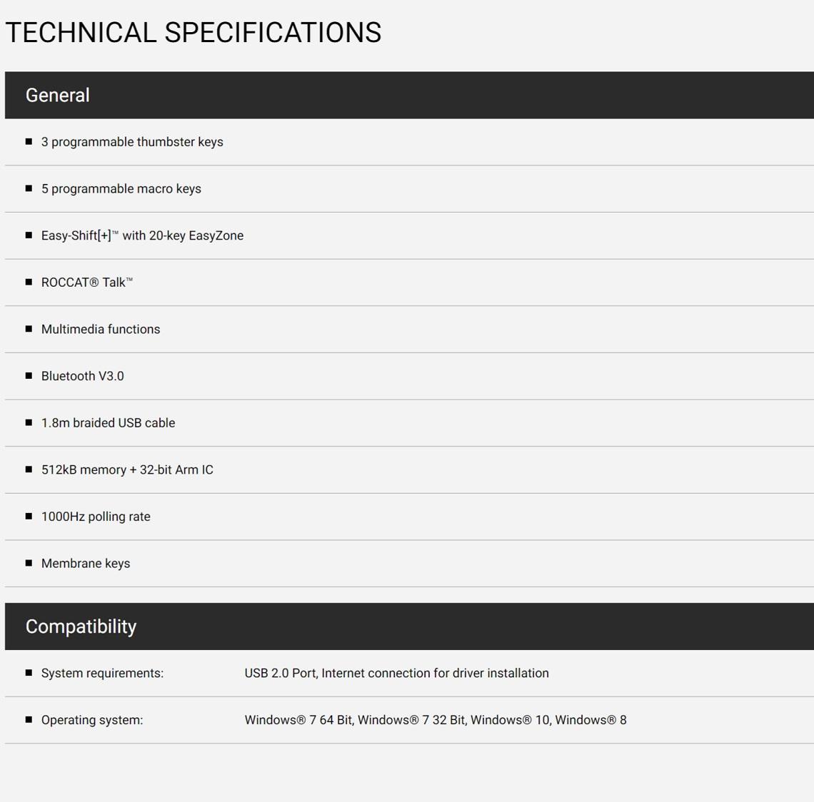 Roccat SKELTR Smart Communication RGB Gaming Keyboard Grey with Docking Slot