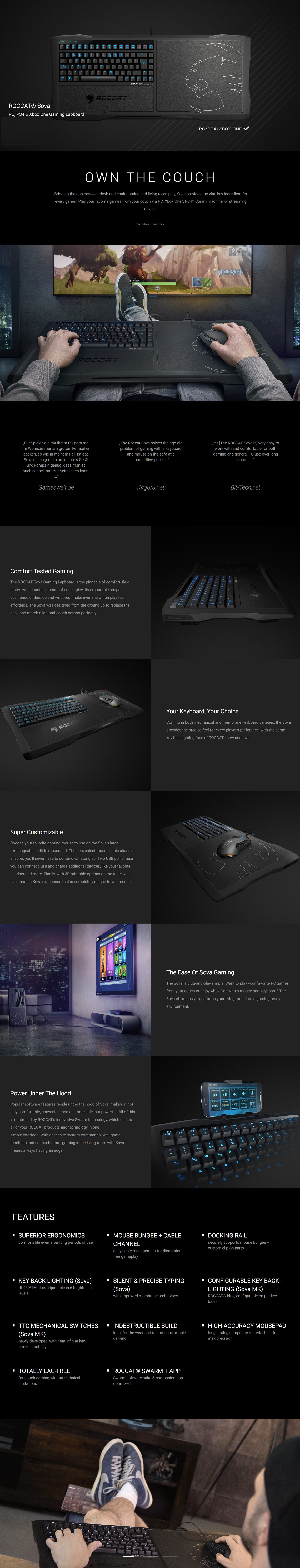 Roccat SOVA Membrane Gaming Keyboard for PC, PS4 & Xbox One Gaming Lapboard