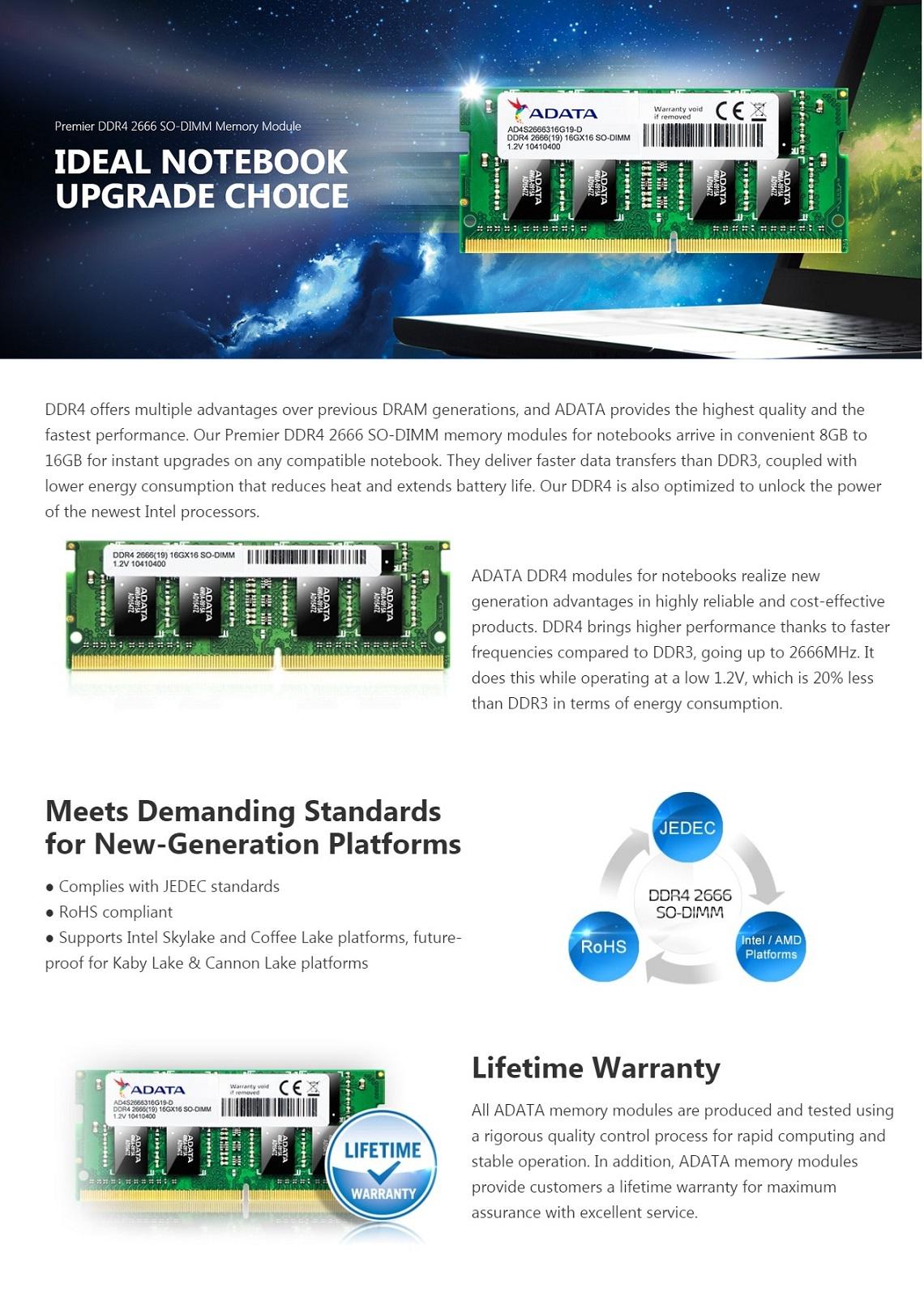 Adata 16GB Premier DDR4 2666Mhz 1.2v 260-pin SO-DIMM Memory Module Laptop Memory