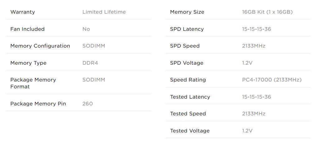 Corsair Value Select 16GB DDR4 2133MHz Memory Module 1.2V SODIMM RAM for Laptop