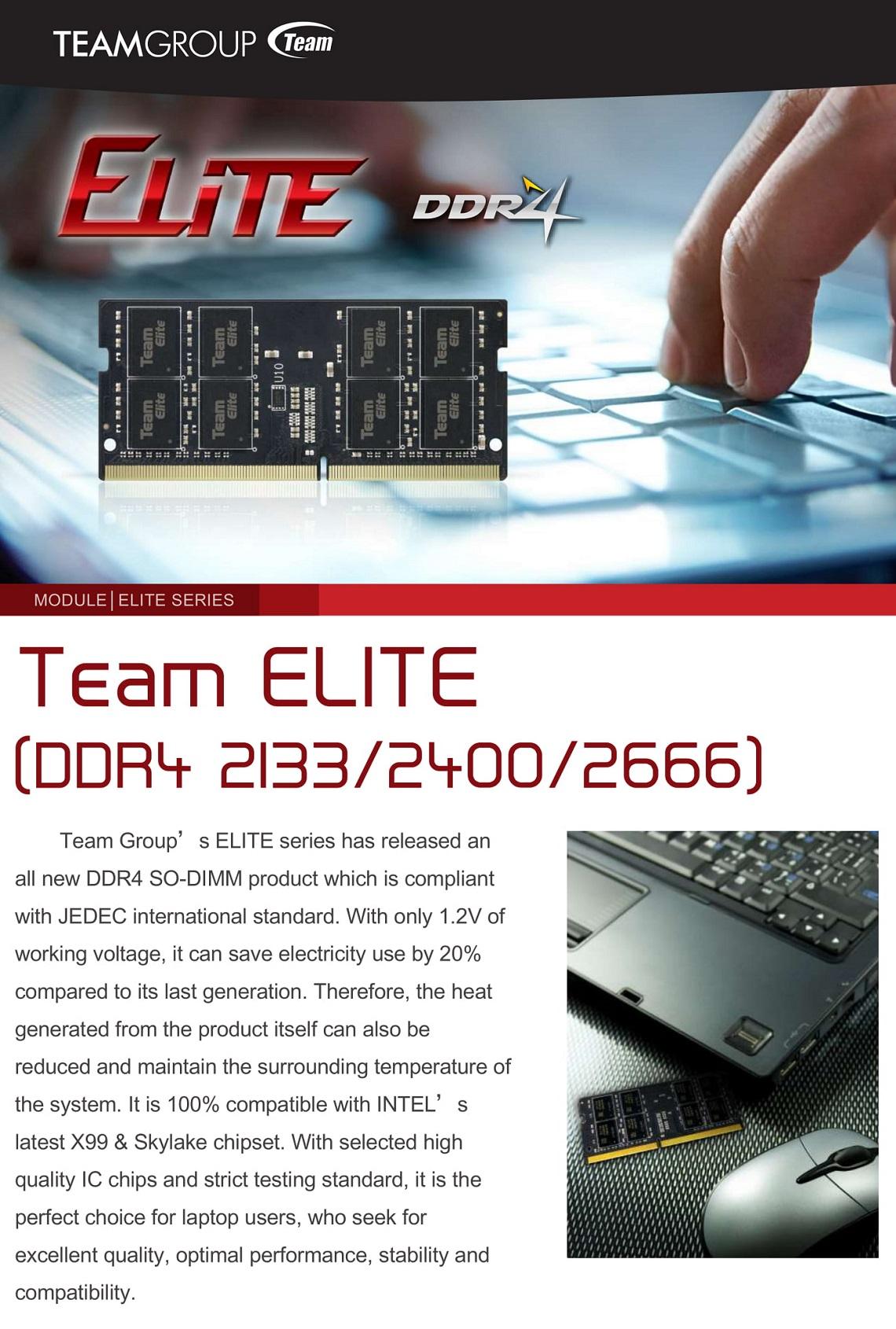 Team Elite 4GB 2400MHz DDR4 SODIMM 1.2V 260-Pin Laptop Notebook Memory RAM
