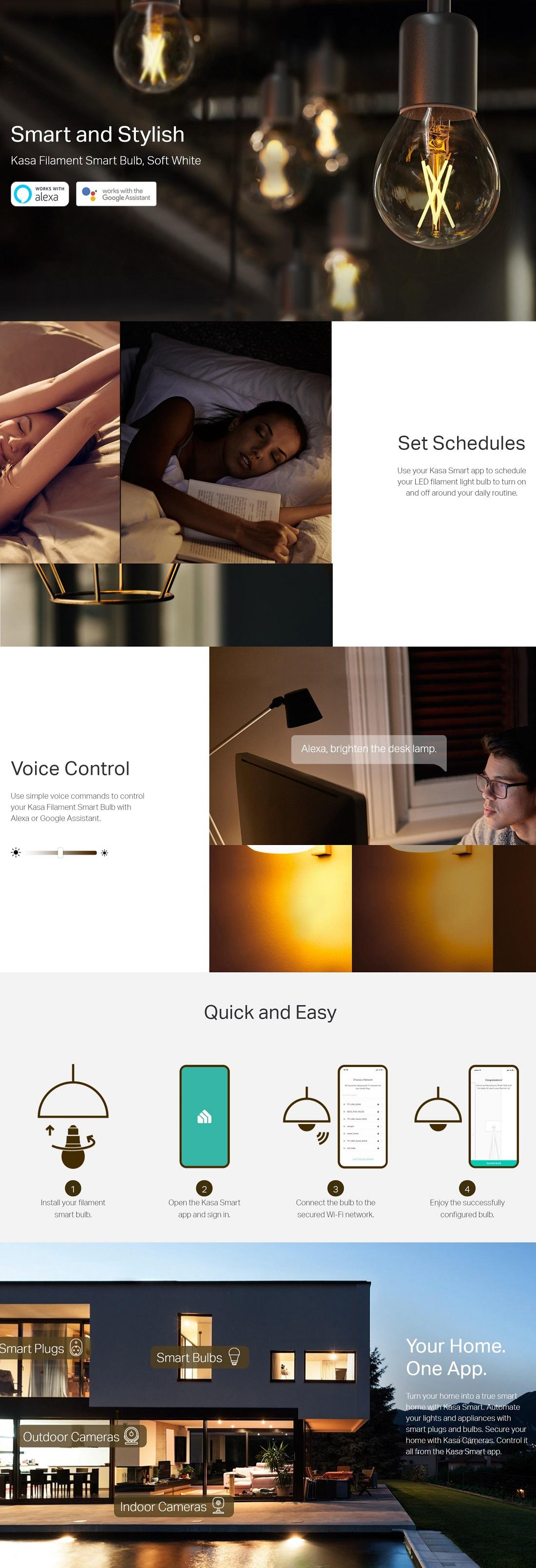 TP-Link KL50 Kasa Filament Smart Bulb Soft White Edison Screw Voice Control
