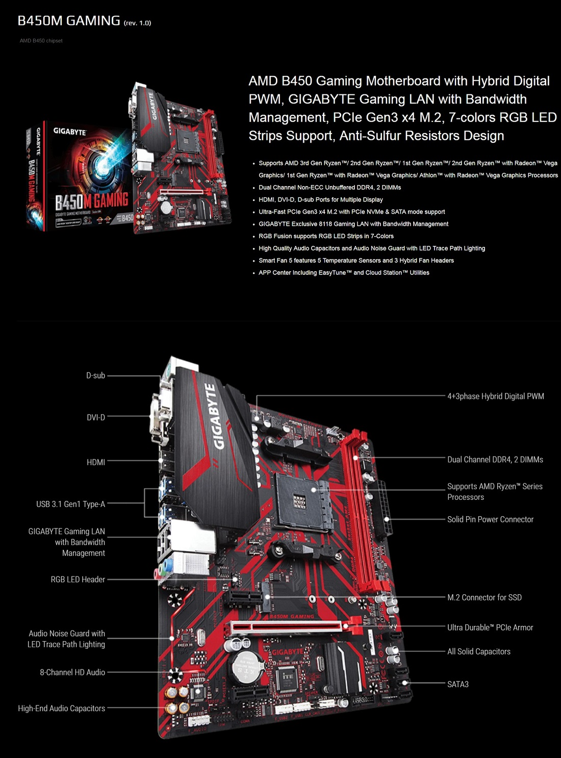 Gigabyte B450M Gaming AMD Ryzen Gen3 AM4 Motherboard mATX DDR4 PCIe HDMI M.2 RGB