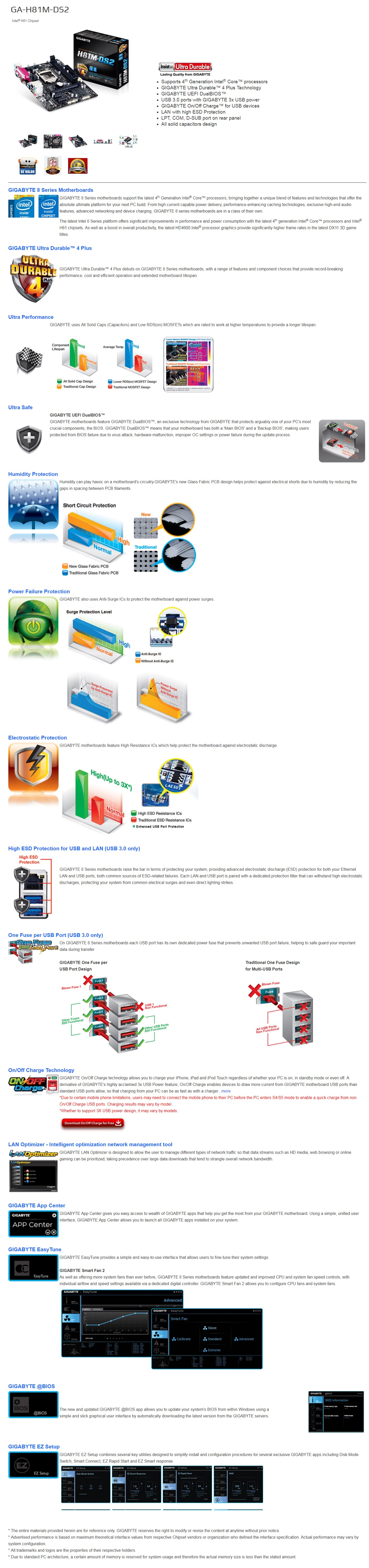 Gigabyte GA-H81M-DS2 Intel H81 LGA1150 DDR3 Motherboard Micro ATX Motherboard