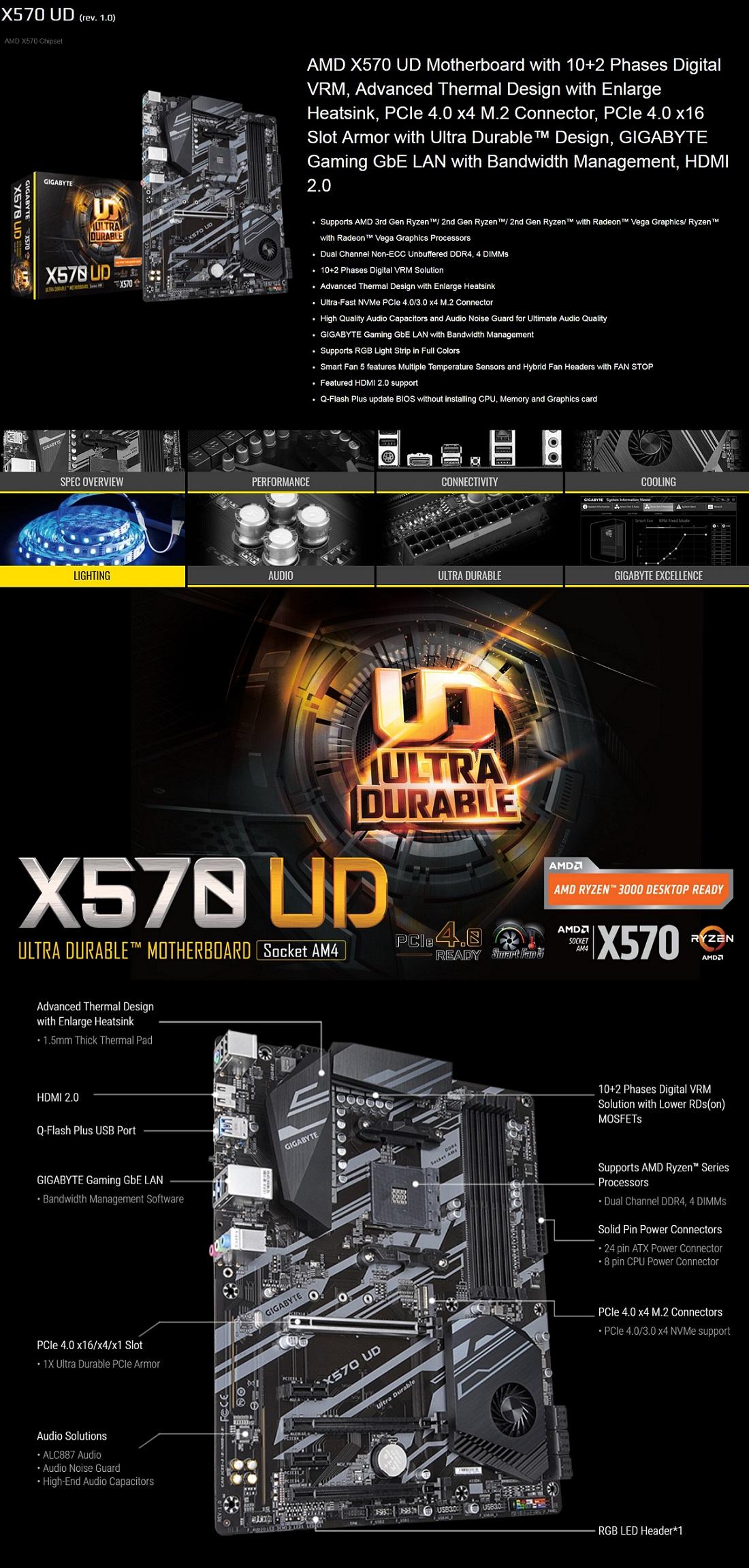Gigabyte X570 UD Ryzen AM4 ATX Motherboard M.2 RAID GbE LAN CrossFire RGB USB3.2
