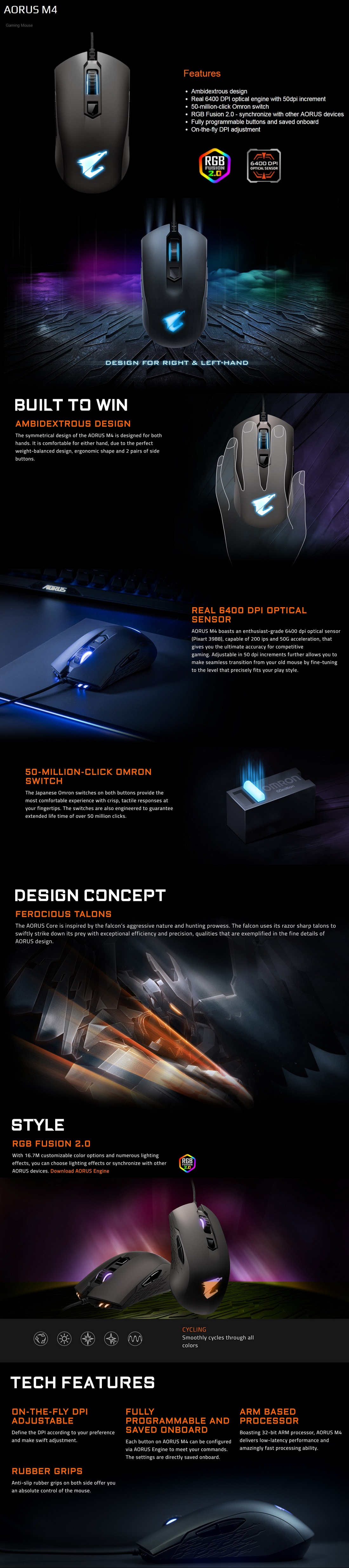 Gigabyte Aorus M4 Optical Gaming Mouse USB Wired 3D Scroll Matte Black RGB Fusion
