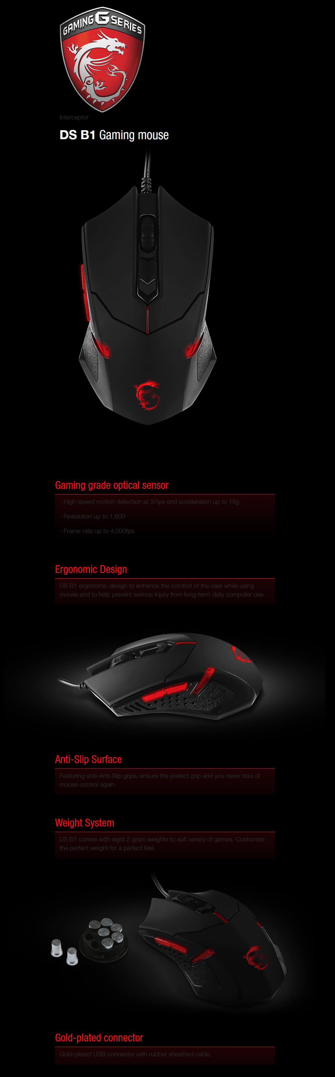 MSI Interceptor DS B1 Ergonomic Wired USB Optical 6 Buttons Red LED Gaming Mouse