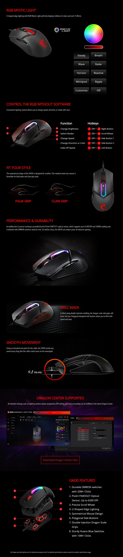 MSI Clutch GM30 Gaming Mouse U-shaped Edge RGB PAW-3327 Optical Sensor 6200 DPI