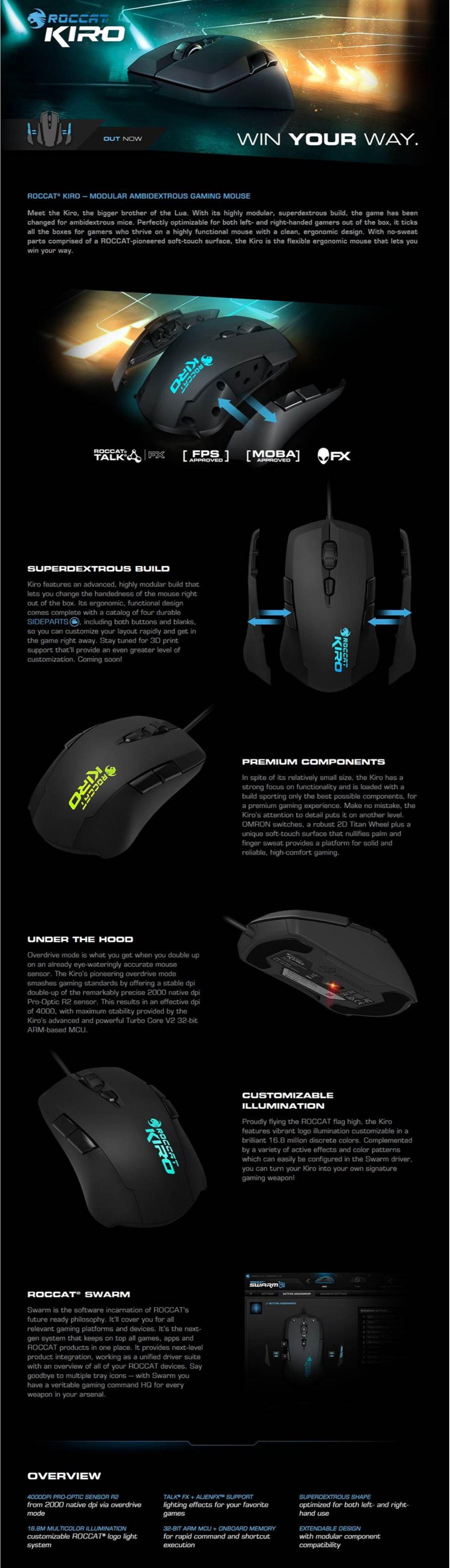 Roccat Kiro Modular Ambidextrous Gaming Mouse for Both Left- and Right-hand Use