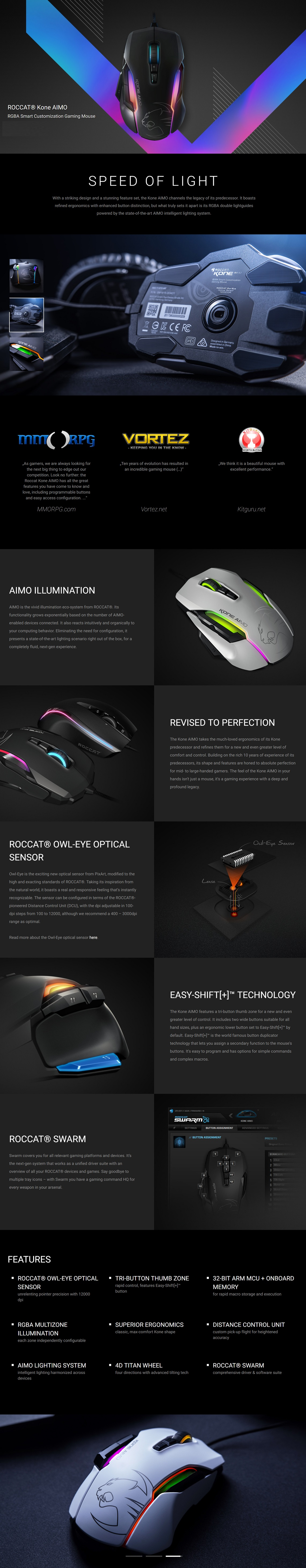 Roccat Kone AIMO RGBA Smart Customization Gaming Mouse - Grey Version