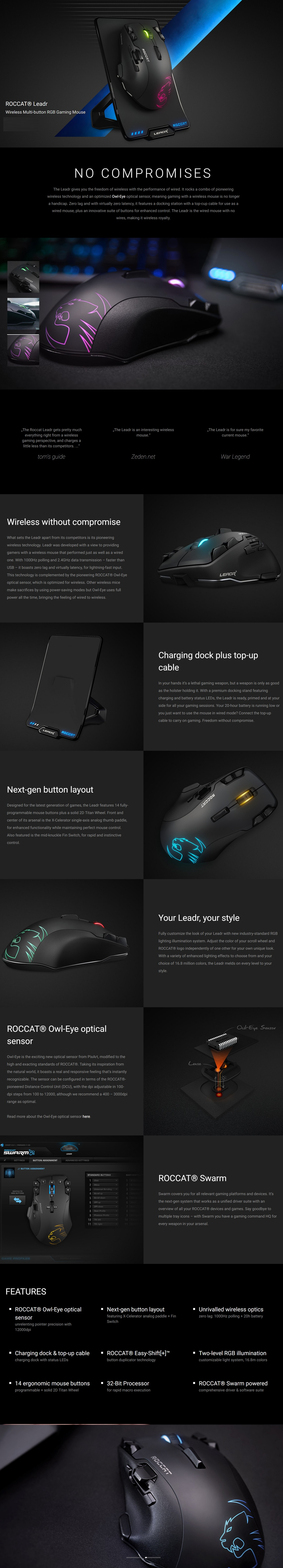 Roccat Leadr Wireless Multi-Button RGB Gaming Mouse with Charging Dock & Top-up Cable
