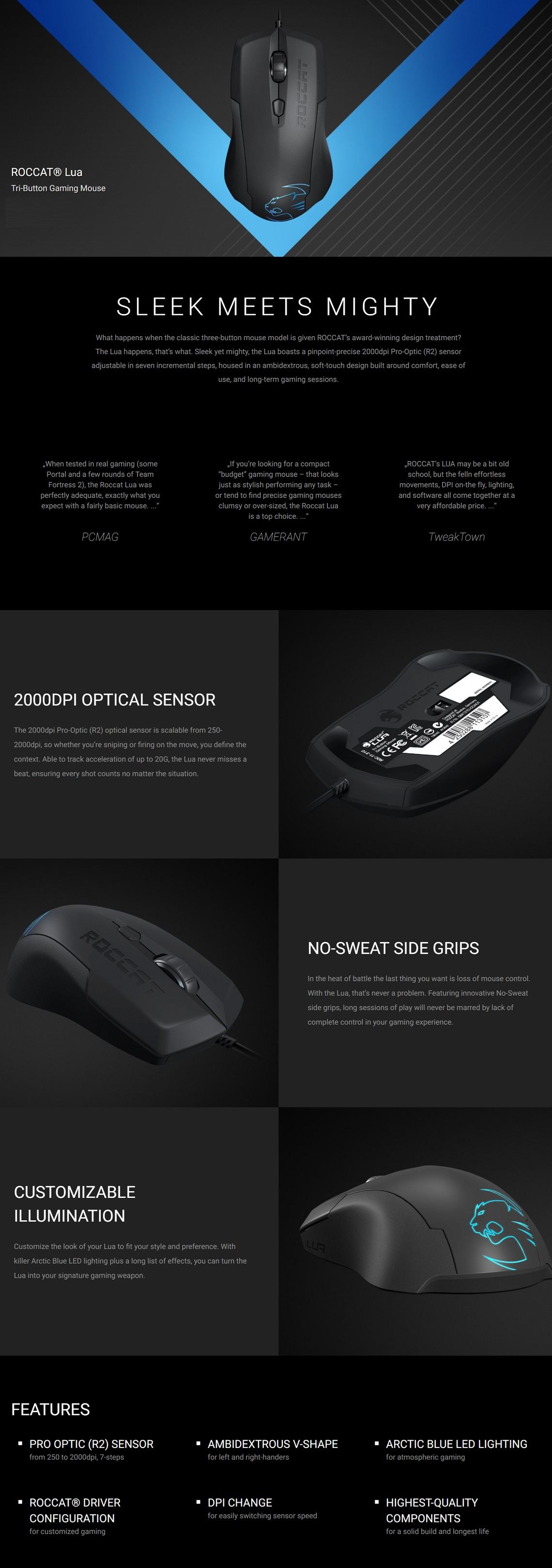 Roccat Lua Tri-Button Gaming Mouse Up to 2000dpi Pro-Optic (R2) Arctic Blue LED