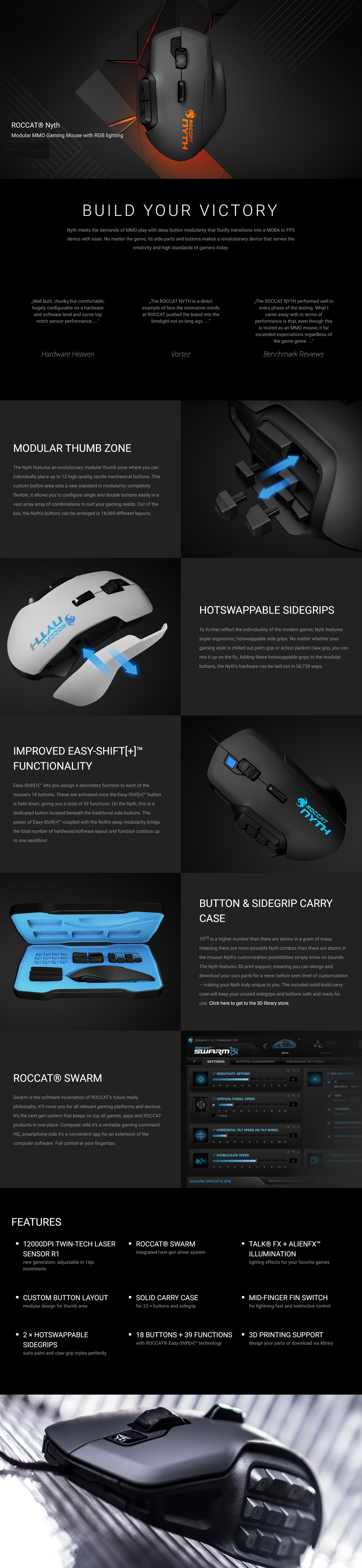Roccat Nyth Modular MMO Gaming Mouse with RGB Lighting White 1ms RT 12000DPI