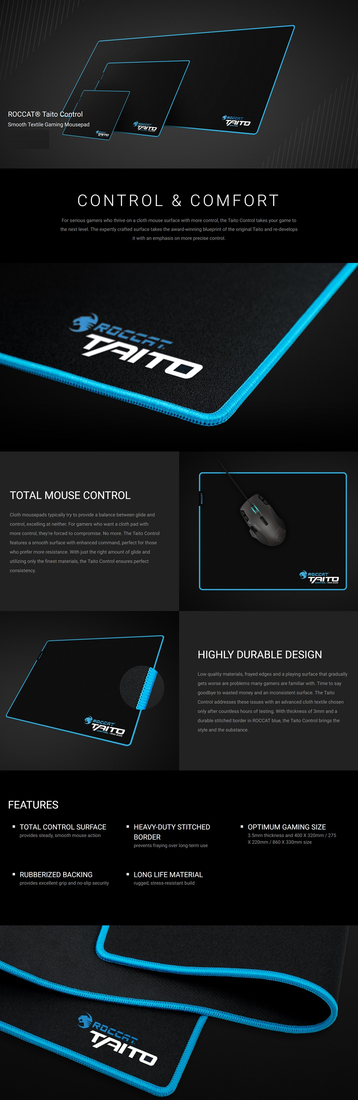 Roccat Taito Control Mid-Size Mousepad Smooth Textile Gaming Mousepad Shiny Black