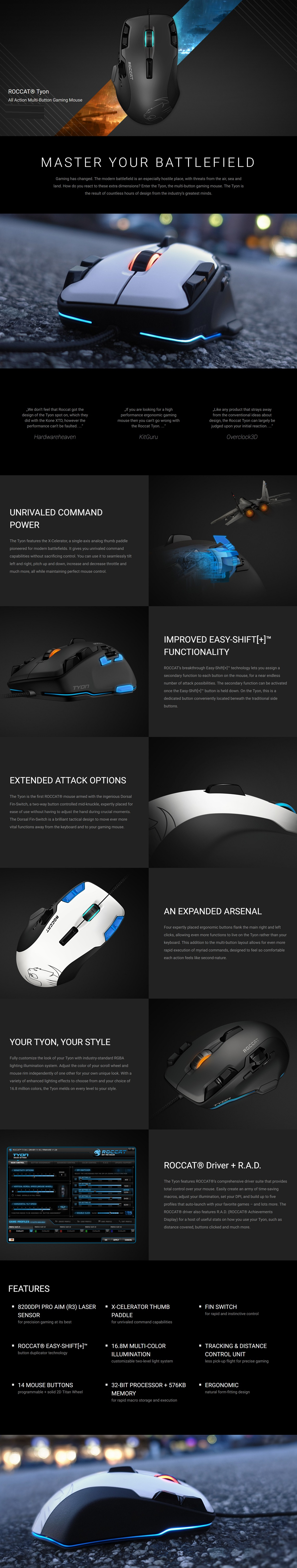 Roccat Tyon All Action Multi-Button Gaming Mouse Pro-Aim Laser Sensor R3 8200dpi