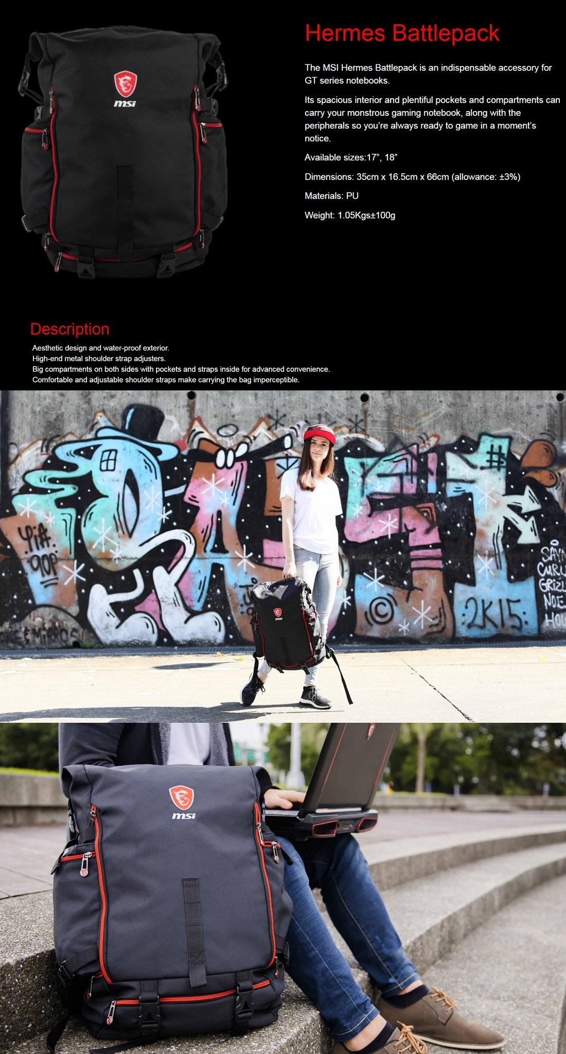 MSI Hermes Battlepack Gaming Notebooks Backpack for MSI GT Series Notebooks