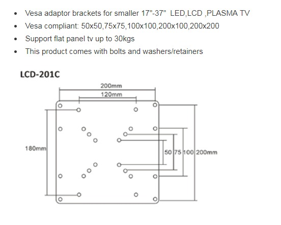 Brateck LCD 201C VESA Mount Bracket Adapter for 23