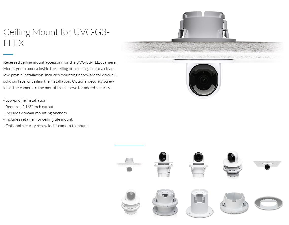 Ubiquiti UVC-G3-FLEX Camera Ceiling Mount Accessory Recessed Ceiling Mount