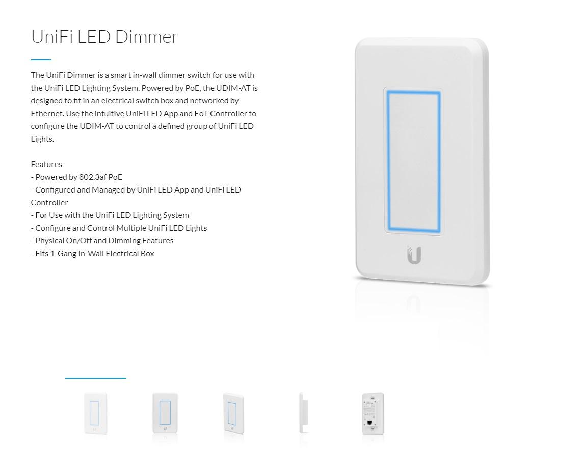 Ubiquiti UniFi LED Dimmer UniFi Light Dimmer for Unifi LED Lights PoE Powered