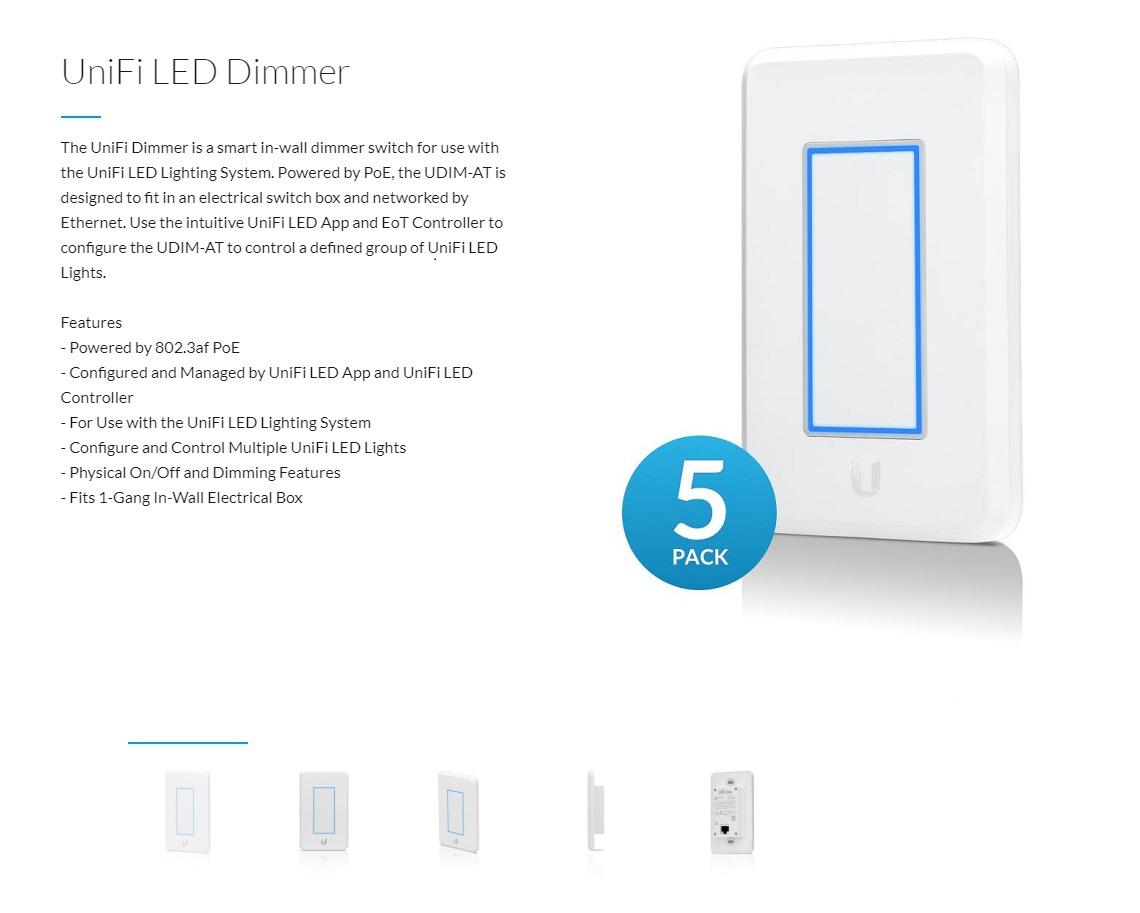 Ubiquiti UniFi LED Dimmer Light Dimmer for Unifi LED Lights PoE Powered 10  Pack