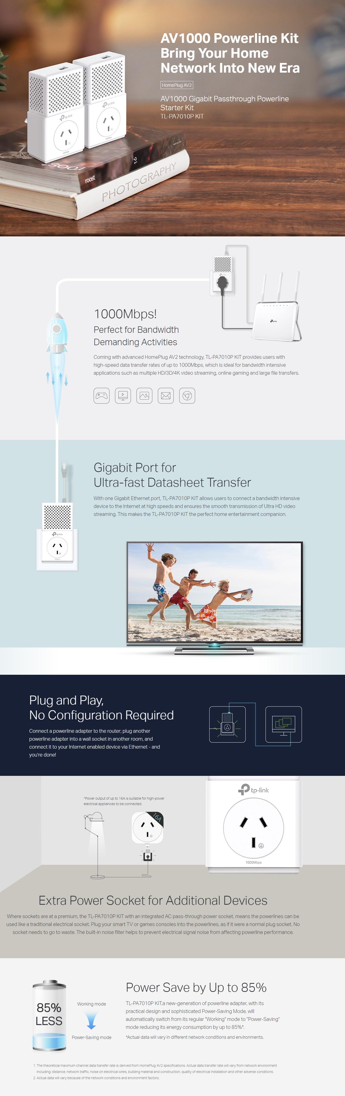 TP-Link TL-PA7010P KIT AV1000 PowerLine Ethernet Network Adapter Range Extender