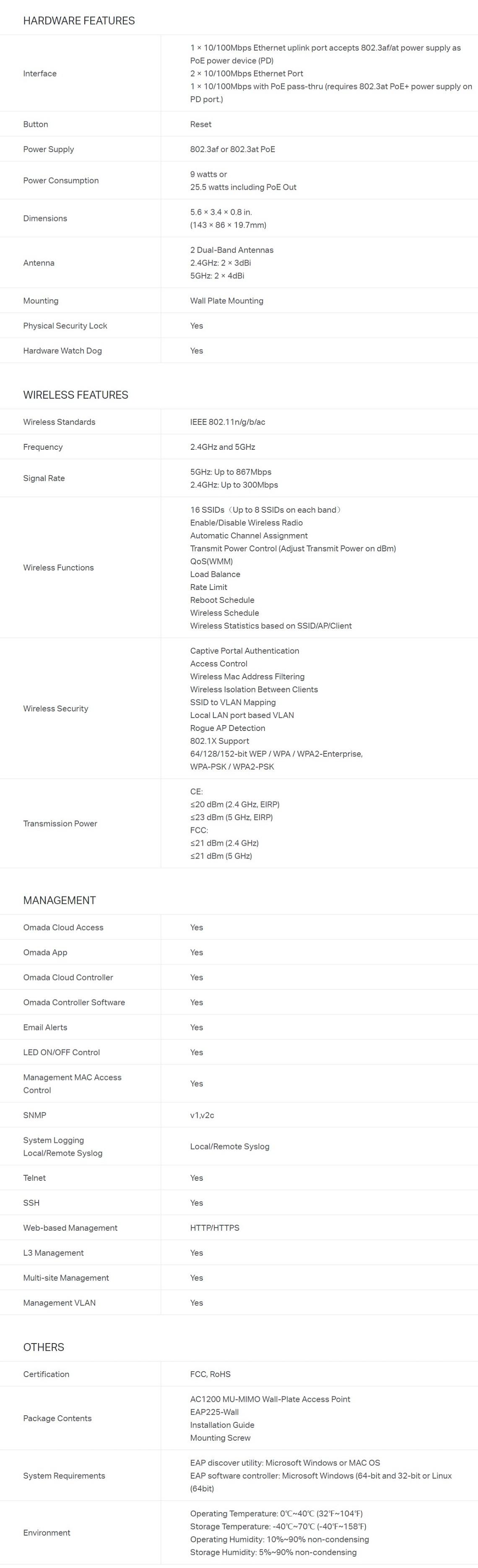 TP-Link EAP225-WALL Omada AC1200 Wireless MU-MIMO Wall-Plate Access Point
