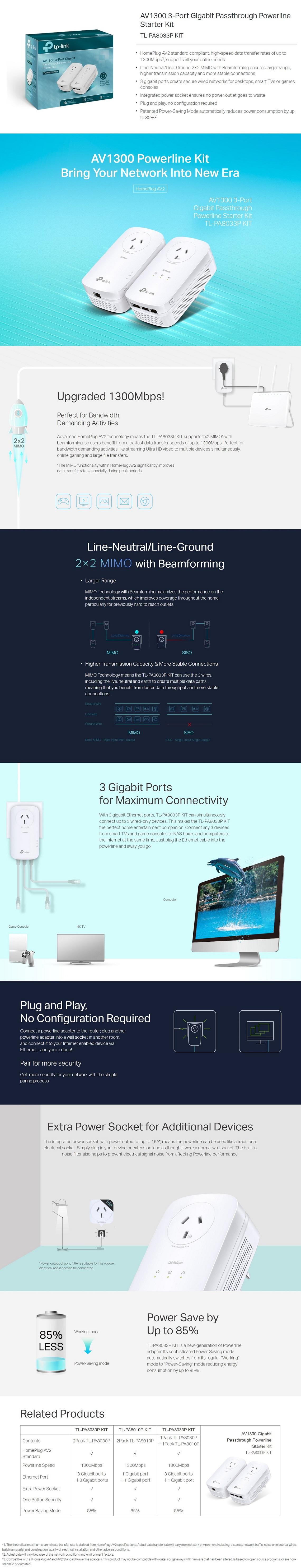 TP-Link TL-PA8033P KIT AV1300 3-Port Gigabit Passthrough Powerline Starter Kit