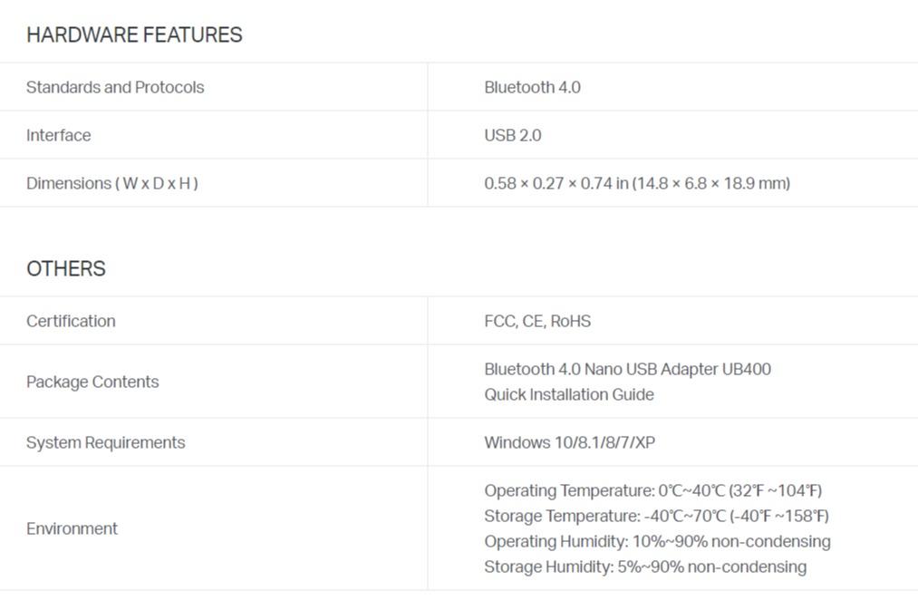 TP-Link UB400 Bluetooth 4.0 Nano USB Adapter Plug and Play Ultra-small