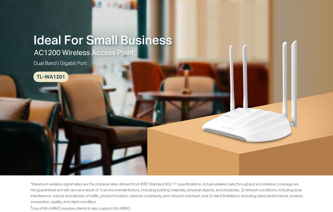 TP-Link TL-WA1201 AC1200 Wireless Access Point, AC1200 Dual-Band Wi-Fi, Passive