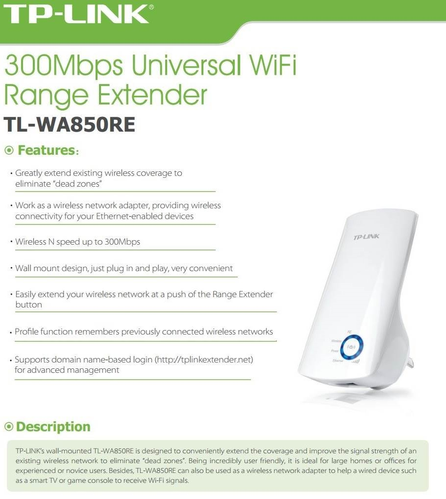 TP-Link TL-WA850RE 300Mbps Universal WiFi Range Extender 2 4Ghz WPS Wireless